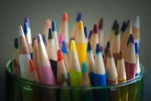 Sharpened colored pencils
